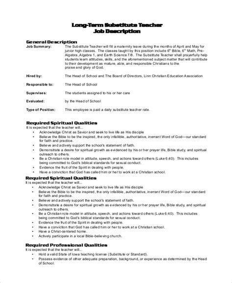 Term Substitute Resume by Description Preschool Description Preschool