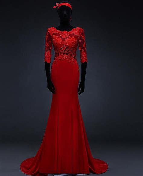 Mermaid Red Evening Gowns With Lace Sleeves Sheer Back ...