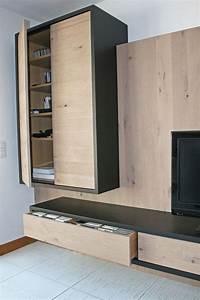 meuble tv hi fi en chene massif blanchi a noeud et With porte d entrée alu avec banc salle de bain alinea