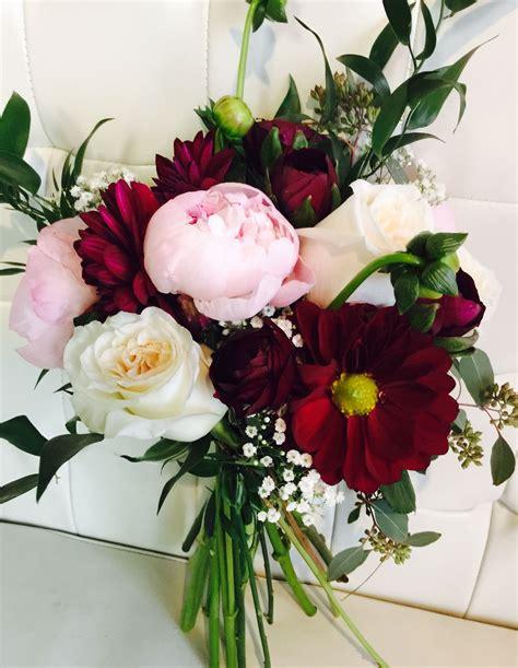 burgundy  blush pink wedding bridal bouquets