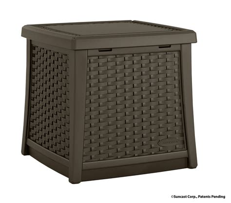 suncast deck boxes canada suncast side table deck box the home depot canada