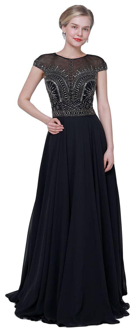 eDressit NEW Black Cap Sleeves Elegant Party Prom Dress ...