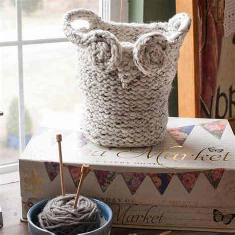 loom knit owl basket pattern yarn basket catch