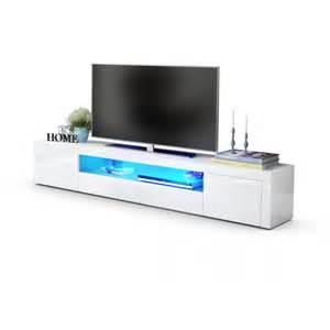 meuble tv moderne laqu 233 blanc 200 cm avec led pour meubles tv a 52