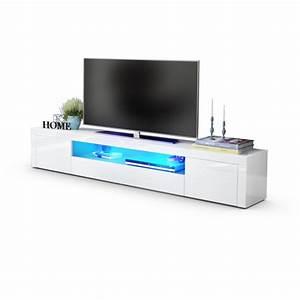 Meuble Tv Led Blanc Laqué : meuble tv moderne laqu blanc 200 cm avec led pour meubles tv desi ~ Teatrodelosmanantiales.com Idées de Décoration
