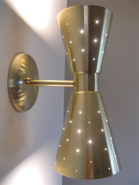 mid century modern cone wall sconce gold finish by