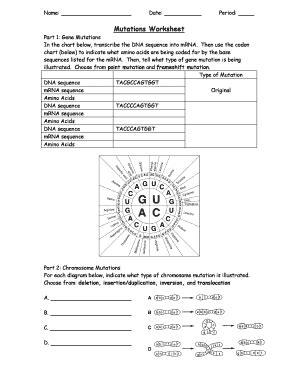 Mutations Worksheet Part 1 Gene Mutations Answer Key  Fill Online, Printable, Fillable, Blank