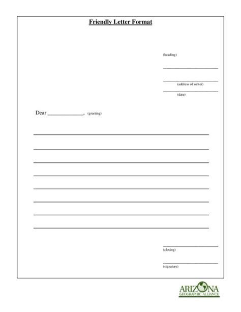 friendly letter format worksheet    grade