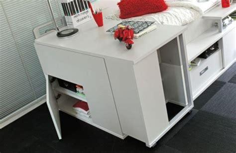 lit avec bureau intégré lit pour adolescent avec de nombreux rangements et un
