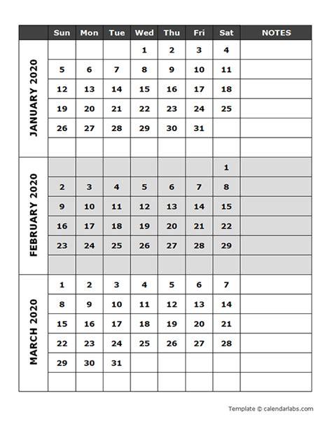 blank quarterly calendar  printable templates