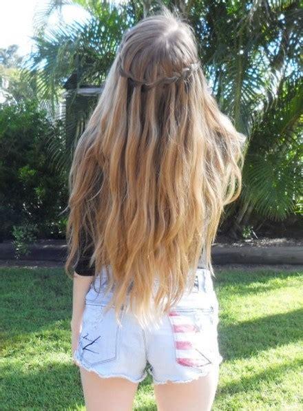 view  waterfall braid dark circlet long blonde