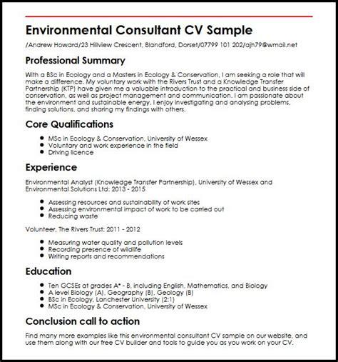 Environmental Consulting Resumes by Environmental Consultant Cv Sle Myperfectcv