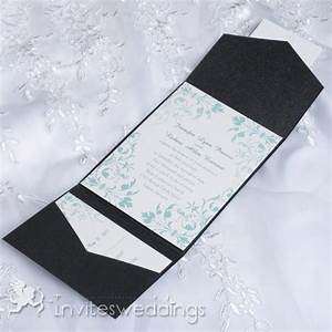 Cheap mint green floral black pocket wedding invites for Wedding invitations with pockets cheap