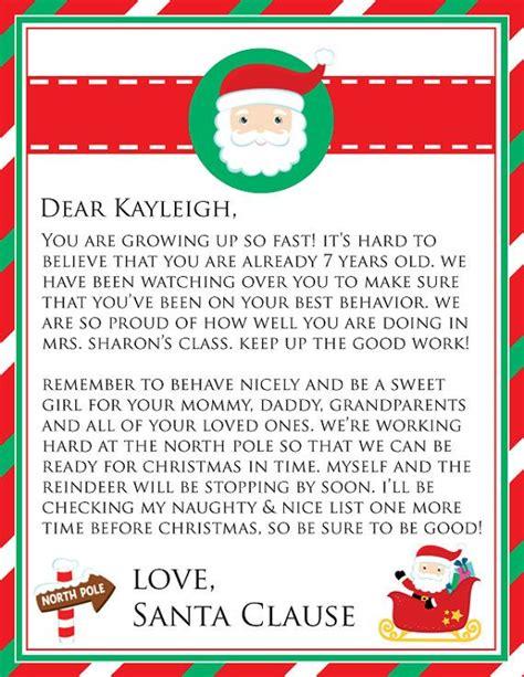 personalized printable letter  santa