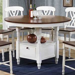 Antique White and Walnut Counter Height Table Home Decor