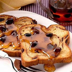 easy oven baked toast with raisin syrup