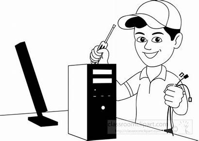 Computer Clipart Technician Technology Clip Outline Clipground
