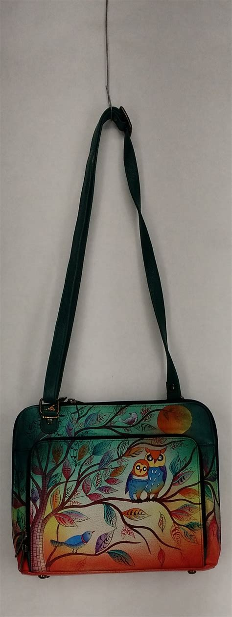 anuschka small hand painted leather rfid crossbody
