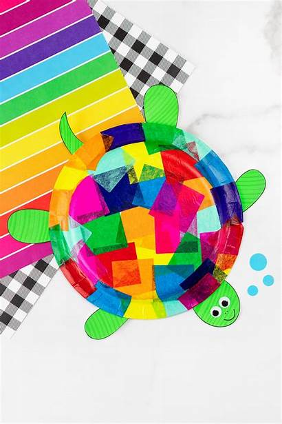 Turtle Craft Paper Plate Tissue Crafts Printable
