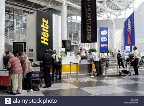 Car Rental Desks Of The Hertz And Budget Car Rental