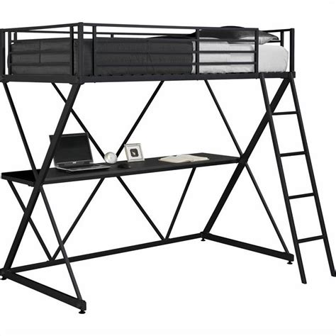 metal bunk bed with desk x shaped metal twin loft bed in black with desk 5440096