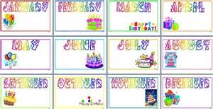 Birthday Months For Student Names Or Photos  Word Doc