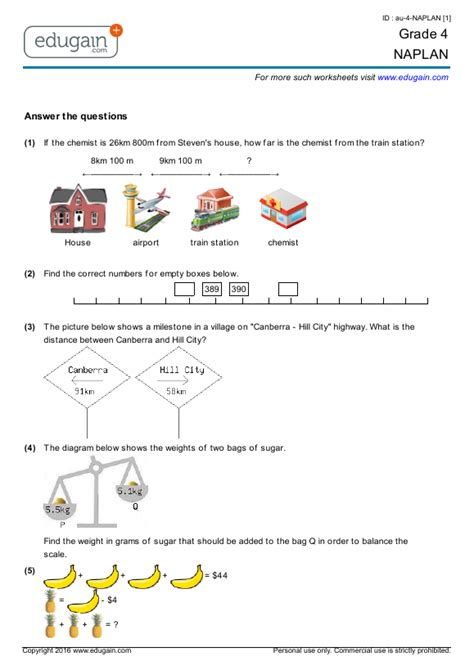 year 4 naplan printable worksheets practice