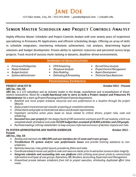 master scheduler resume exle project controls analyst