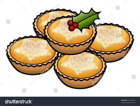 A Stack Of 5 Mince Tarts / Pies Decorated With A Holly