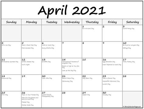 april  calendar  holidays