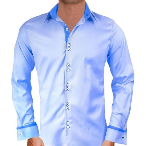 mens designer dress shirts blue cuff dress shirts