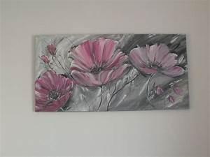 Tableau Rose Et Gris : harmonie de fleurs tons gris rose et aluminium peintures par brigitte schutten paint with me ~ Teatrodelosmanantiales.com Idées de Décoration