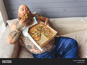 Lazy Fat Man Eating Pizza Appetite Image & Photo   Bigstock