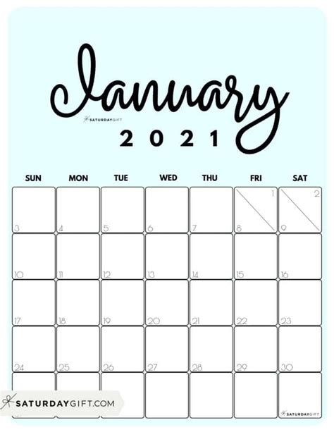 View Free Printable January Calendar 2021  Pictures