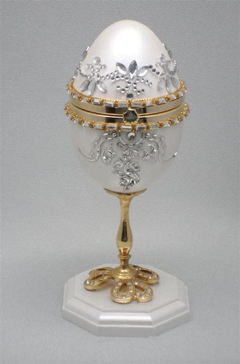 faberge egg wedding ring box white egg jewelry box wedding ring box faberge style decorated goose egg finds from our