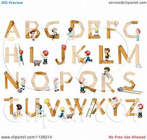 Cartoon of construction children building wooden letters for Building letters