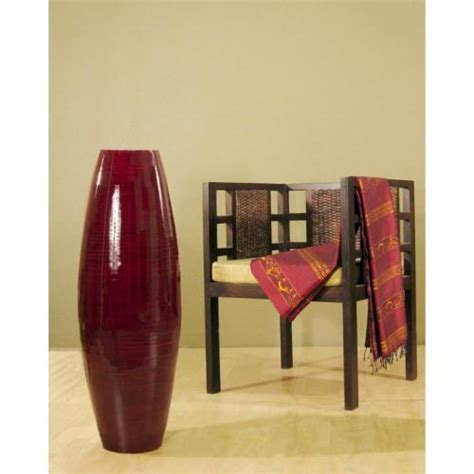 "Large Floor Vases :: 36"" Red Mahogany Bamboo Cylinder"