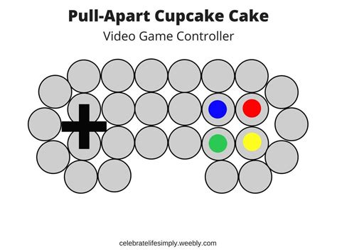 video game controller pull  cupcake cake template
