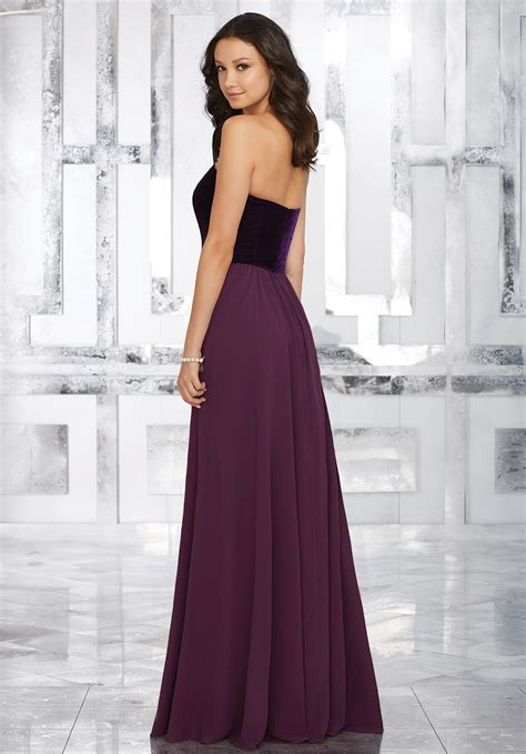 stretch velvet and chiffon bridesmaids dress with