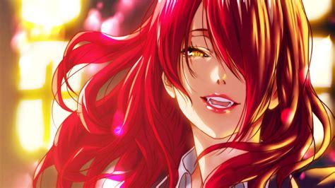 papel de parede ruiva anime vermelho obra de arte