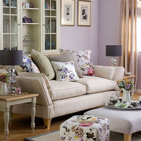 Living Room Furnishings by Purple Living Room With Floral Soft Furnishings Living