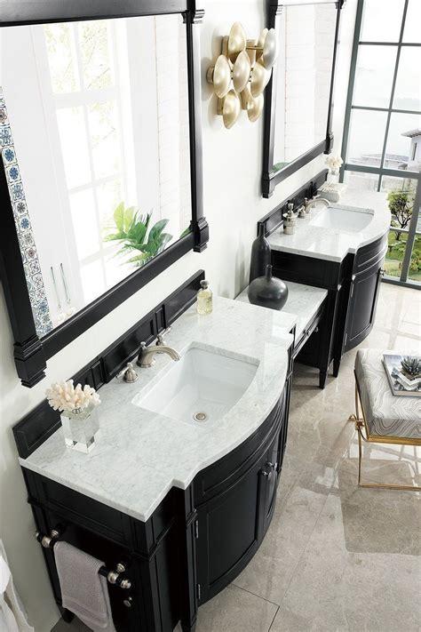 "48 inch bathroom vanities : 118"" Brittany Black Onyx Double Bathroom Vanity | Double ..."