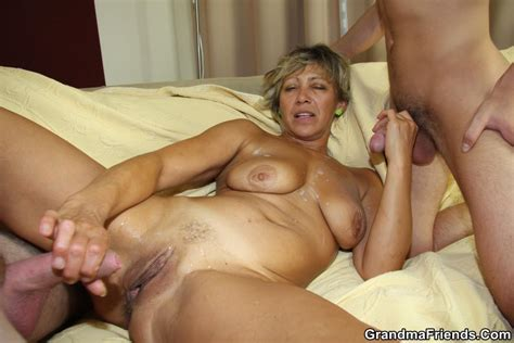 Granny Craves A Threesome And The Young Guys Give Her A
