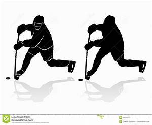 Silhouette Of A Ice Hockey Player. Vector Drawing Stock ...