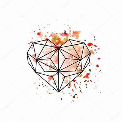 Geometric Heart Watercolor Background Vector Illustration Depositphotos
