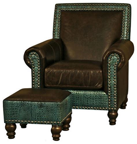 western brown turquoise leather ottoman contemporary