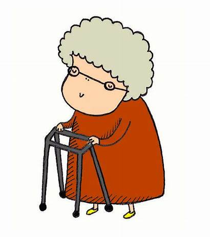 Lady Walker Woman Clipart Elderly Cartoon Clip