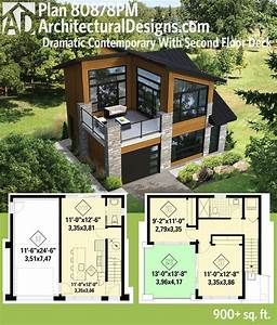 plan 80878pm dramatic contemporary with second floor deck With plan maison r 1 100m2 7 urban gardening container gardening