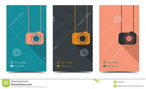 Photographer Business Card In A Flat Style. Stock Vector Vertical Business Card Download Visiting Design Vintage University Of Michigan Template Best Video For Applications Using Ms Word Digital With The Virtual Creating A In Outlook