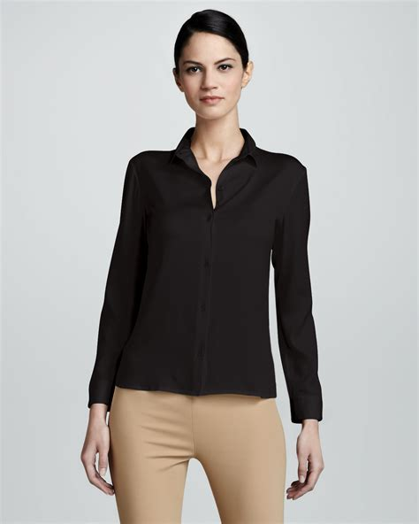fitted blouses the row fitted button up georgette blouse in black lyst
